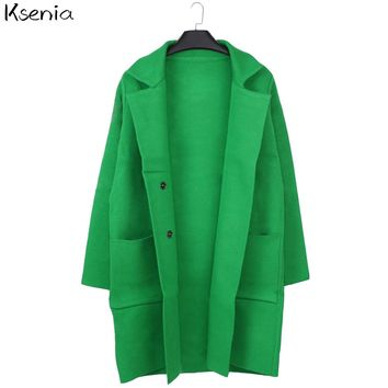 Ksenia Turn Down Casual Long Knitted Cardigan Autumn Women Loose Solid Color Pocket Design Sweater womens jackets and coat