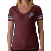 Philadelphia Phillies '47 Brand T-Shirt - Phillies Maroon Playoff Short Sleeve V-Neck