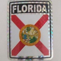 "Florida Flag Reflective Sticker 3""x4"" Inches Adhesive Car Bumper Decal"