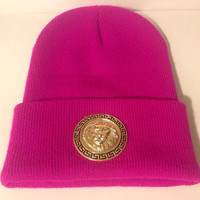 Hot Pink Versace style beanie by LitteredNation on Etsy