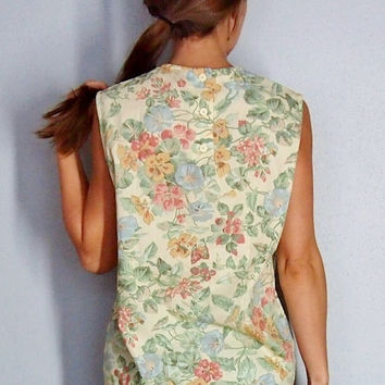 Button Up Back, Vintage Floral Tank, Pale Yellow Rose Blouse, Small, medium, xs