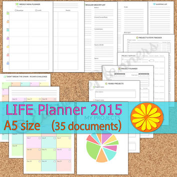 Life Planner 2015 A5 size filofax. 35 printable PDFs. Daily, Weekly, Monthly, Project, Menu, Household planner, Wheel of life balance.