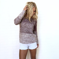 Early Morning Ombré Knit Sweater In Plum