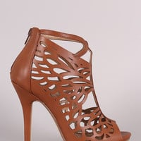 Butterfly Wing Cutout Caged Stiletto Heel