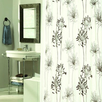 "Royal Bath Autumn Flowery Design Cologne Fabric Shower Curtain with Poly Taffeta Flocking in Brown/Ivory Size: 70"" x 72"""