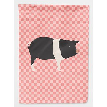 Hampshire Pig Pink Check Flag Canvas House Size BB7939CHF