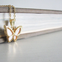 Tiny butterfly necklace Summer Pendant Bead pendant Delicate jewelry