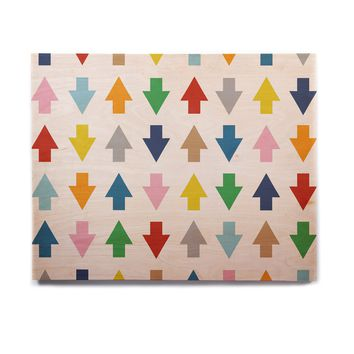 "Project M ""Arrows Up and Down White"" Birchwood Wall Art"