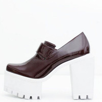 Square Wine Leather High Heel