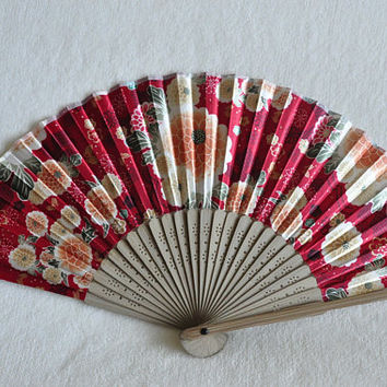 Chrysanthemum Hand fan - red hand fan ,multicolor hand fan,Handheld Folding Fan,  Japanese Hand Fan,folding fan
