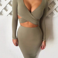 Army Green Deep Plunge Neck Cutout Sheath Dress -SheIn(Sheinside)