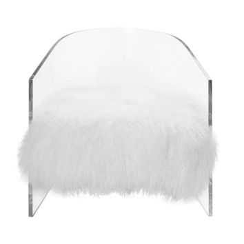 Worlds Away Maggie Acrylic Barrel Chair with White Mongolian Fur