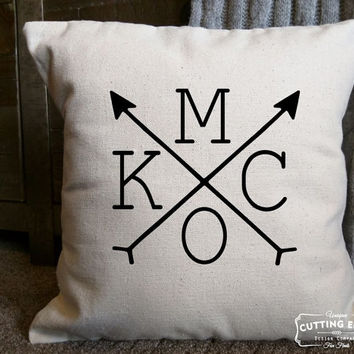 KCMO Arrows Cotton Canvas Natural Pillow - Rustic Home Decor | Throw Pillow | Decor Pillow