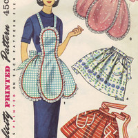 1950s Apron Vintage Simplicity Sewing Pattern Kitchen Full Half Aprons Cooking Smock Retro Kitsch Style One Size