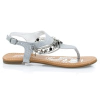Above Silver By Soda,  Metal Chain Flat Thong Sandal w Multi Colored Print & Sling Back Ankle Strap