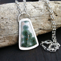 Ocean jasper pendant necklace. Green and pink ocean jasper stone with sterling silver setting and chain. OOAK Handmade, modern, unique