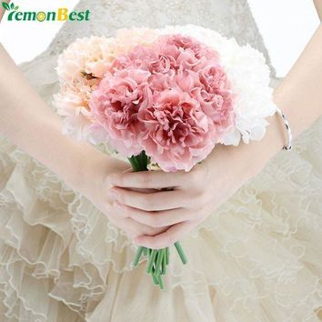 MDIGYN5 5 Heads Artificial Flowers High Quality Peony Flower Bridal Bouquet Fake Floral Hydrangea For Home Christmas Wedding Decoration