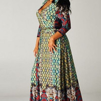 Red Morrocan -TUA- Plus Size Surplice Maxi Dress - Medallion Mosaic