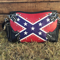 Studded Rhinestone Rebel Flag Purse