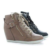 Bubble55 By Wild Diva, Studded Lace Up Hidden Wedge Heel Ankle Booties