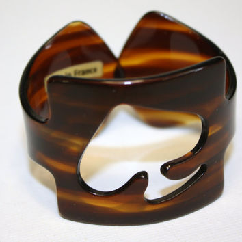 Vintage French France Tortoise Shell Cuff Bracelet by patwatty