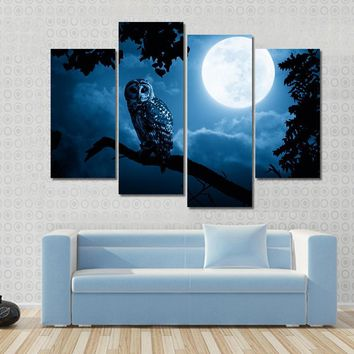 Quiet Halloween Owl At Night With Bright Full Moon In Sky Canvas