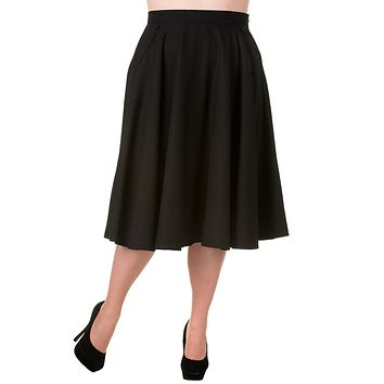 50's 60' Rockabilly Pin-up Black Pocket Swing Skirt