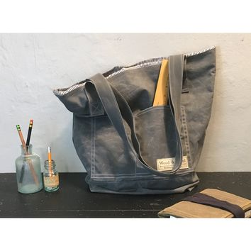 The Olivia Tote in Confederate Grey - Waxed Canvas Tote Bag