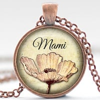 Mami Necklace, Mother's Day Jewelry, Pink Flower Pendant, Gift for Her (1746)