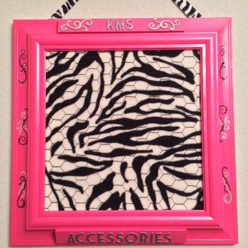 Hair accessory bow jewelry photo display organizer holder bulletin board bedroom girl teen tween playroom decor pink zebra embellish custom