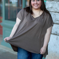 Touch of Lace Tee in Mocha {Curvy}