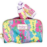 Estee Lauder Lilly Pulitzer Snapdragon Print Cosmetic Bag wi/ 2 Travel Bottles