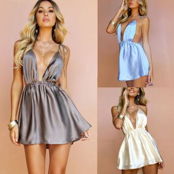 Women Bodycon Mini Party Sexy Slip Dresses Beach Backless Deep V Short Mini Dress Charming Summer Vacation Sundress