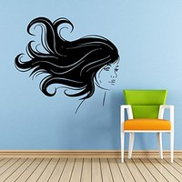 Makeup Wall Decal Vinyl Sticker Decals Home Decor Mural Make Up Girl Woman Eyes Face Lips Fashion Cosmetic Hairdressing Hair Beauty Salon Decor (6046)