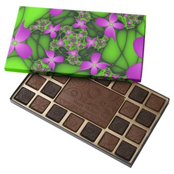 Modern Abstract Neon Pink Green Fractal Flowers Assorted Chocolates