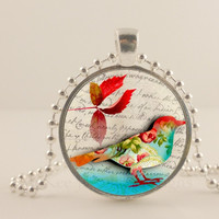 Bird flower pattern and red leaf glass and metal Pendant necklace Jewelry.