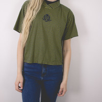 Vintage Olive Cropped T Shirt Top