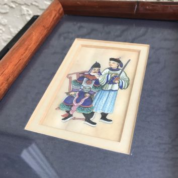 ANTIQUE ORIENTAL ASIAN CHINESE WING PITH RICE Paper Painting QING DYNASTY