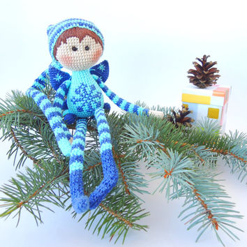 Free Shipping, Crocheted art doll Elf Azure, Cute stuffed toys, Soft toy for baby, Holiday gift child, Christmas tree ornament