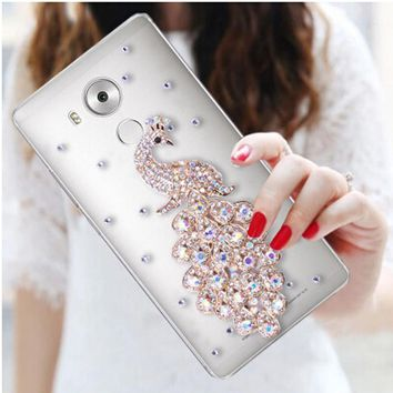 Luxury 3D Peacock Bird bling Crystal diamond Mobile phone Shell Back Cover Skin Hard Case For Huawei Mate 8 Case