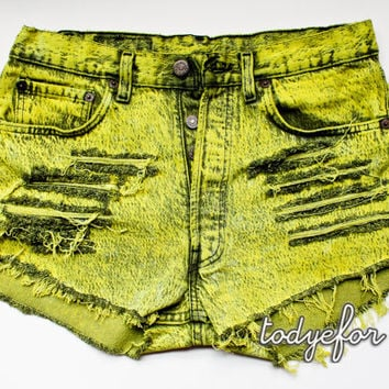 Acid Wash High Waisted Denim Shorts Vintage Levis by todyefordenim