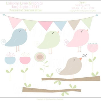 Digital Clipart Bunting Banner Chics Birds Branch Flower Clip Art Pastel Green Blue Brown Pink Peach INSTANT DOWNLOAD