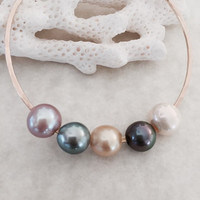 Tahitian Freshwater and South Sea Quadruple Pearl Bangle on Gold Filled