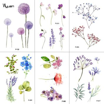 WYUEN Flower Temporary Tattoos for Women Hand Tattoo Sticker Fashion Body Art Waterproof Arm Fake Tatoo Paper 9.8X6cm P-013