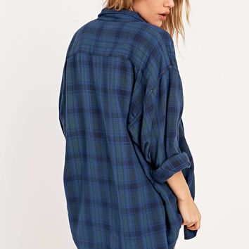 Urban Renewal Vintage Customised Overdyed Blue Plaid Shirt - Urban Outfitters