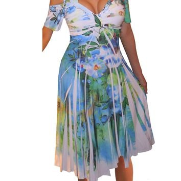 Funfash Plus Size Women Cold Shoulders White Floral Cocktail Dress Made in USA