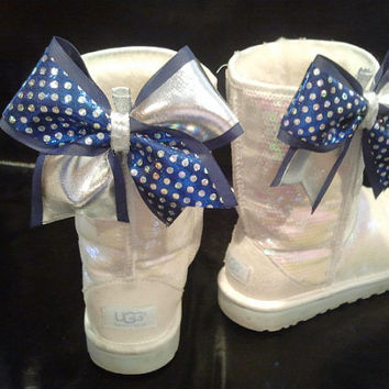 Mini Cheer Bow Ugg & Shoe Clips Set of 2! Clip to most Any Shoe! Show Spirit at Competition, Game! Cheerleader, Coach, Team, Cheer Moms, Sis