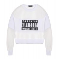 Alexander Wang Parental Advisory Sweatshirt - White Sweatshirt - ShopBAZAAR