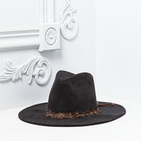 Black Suedette Feather Fedora
