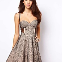 ASOS Cupped Lace Skater Dress - Black/nude